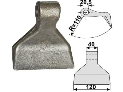 Industriehof® Hammerschlegel Arbeitsbreite 120 mm, Bohrung 20,5 mm, Einbaumaß 40 mm, für Becchio & Mandrile, Cabe (Nuova Cabe), Desvoys, Forigo, Maschio, Zappator, 63-RM-4-20