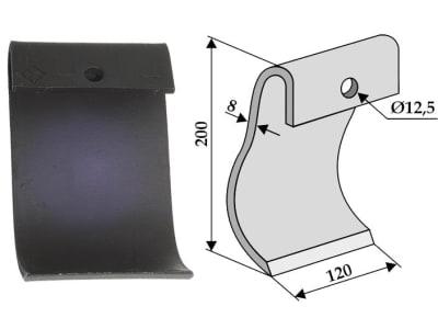 Industriehof® Schlegelmesser 200 x 120 x 8 mm, Bohrung 12,5 mm, für Mulcher Dücker Fräsen, 63-DÜC-51
