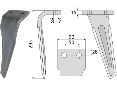 Industriehof® Kreiseleggenzinken links/rechts 90 x 295 x 15 mm, Bohrung 17 mm für Sicma