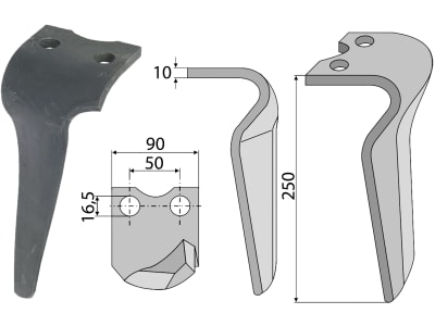 Industriehof® Kreiseleggenzinken links/rechts 90 x 250 x 10 mm, Bohrung 16,5 mm für Morra, Pegoraro
