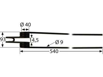 Schwaderzinken 540 x 93 x 9 mm für Deutz-Fahr