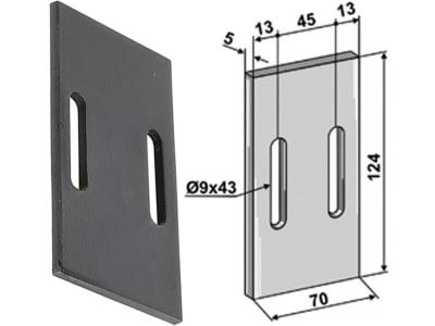 Industriehof® Abstreifer 124 x 70 x 5 mm, Bohrung 43 x 9 mm für Morra, Quivogne, 51-Q100
