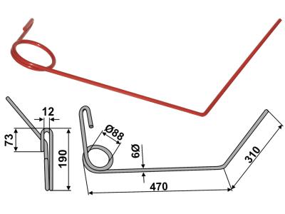 Industriehof® Striegelzinken rechts 470/310 x 9 mm für Nordsten, 10.ST-NS-3