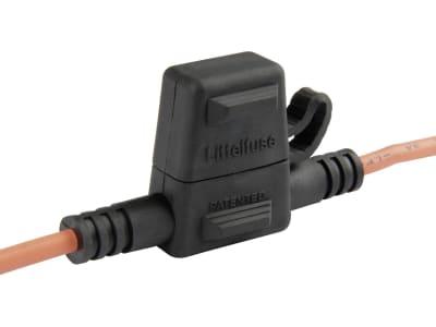 """Herth + Buss Sicherungshalter, 32 V, 30 A, <ul type=""""disc""""><li>Für alle Flachstecksicherungen gem. DIN 72 581/3F Mini</li><li>Wasserdicht</li><li>Für Nennspannung bis 32 Volt</li><li>max. 30 Ampere</li><li>Anschlußleitung 2,5 mm²</li></ul>, für Flachsteck"""