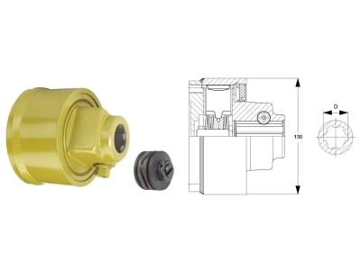 """Walterscheid Nockenschaltkupplung """"EK64/12R"""" Ø Teilkreis 118 mm, Auslösekraft 1.200 Nm, Profil 1 3/8"""" 6, Verschluss Klemmkonus CC, 1693054"""