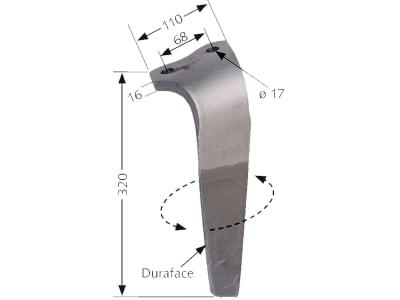 Industriehof® Kreiseleggenzinken links/rechts Duraface-Beschichtung 110 x 320 x 16 mm, Bohrung 17 mm für Kuhn