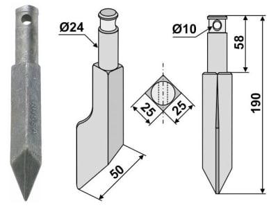 Industriehof® Rotorzinken links/rechts 190 x 25 x 25 mm, Bohrung 10 mm für Rau, RH55A