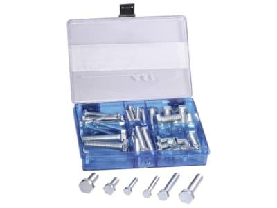 Sechskantschrauben-Sortiment DIN 933 M 6–M 10, verzinkt, 53 St., 53-teilig in Kunststoffbox
