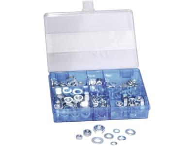 Kombi-Sortiment 135-teilig in Kunststoffbox, DIN 125; DIN 127; DIN 934, verzinkt