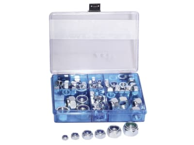 Sicherungsmuttern-Sortiment DIN 985 M 6–M 16, verzinkt, 77 St. in Kunststoffbox