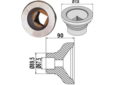 Industriehof® Außenflansch 138; 89,5 x 67,5 x 90 mm für Lagerung für Vierkantwelle 40 x 40 mm (Best. Nr. 10737345)<br>Lagerung für Vierkantwelle 40 x 40 mm (Best. Nr. 10626691), 31-0044