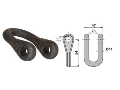 Industriehof® Schäkel gerade, Bohrung 11 mm, für Mc Connel, Noremat, Rousseau, S.M.A., 63-ROU-72