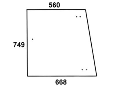 Seitenscheibe, grün/klar, für Fendt Farmer 303–312, F 345 GT, F 350 GT, F 360 GTA, F 365 GTA, F 370 GT/GTA, F 380 GT