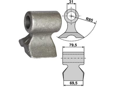 Industriehof® Hammerschlegel Arbeitsbreite 69,5 mm, Bohrung 31 mm, Einbaumaß 79,5 mm, für Berti, 63-RM-93