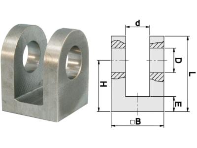 Schema Anschweißgabel, ØB 50 mm, ØD 25,25 mm für Hydraulikzylinder mit Kolbendurchmesser 60, 63, 65, 70 mm