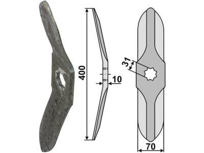 Industriehof® Rollspatenmesser links/rechts 400 x 70 x 10 mm Bohrung 31 mm für Horsch, 31-380/30H