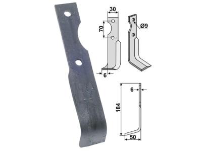 Industriehof® Fräsmesser rechts 184 x 30 x 6 mm, Bohrung 9 mm für Breviglieri, BRE-12R