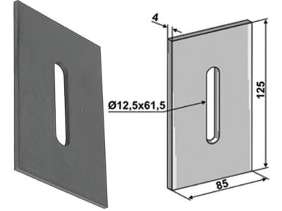Industriehof® Abstreifer 125 x 85 x 4 mm, Bohrung 61,5 x 12,5 mm für Kverneland (Maletti), 51-K300