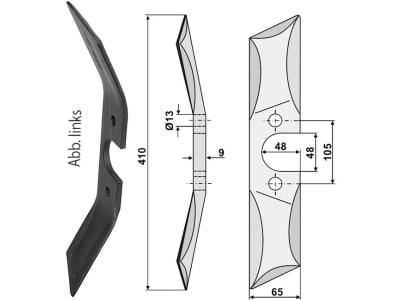 Industriehof® Rollspatenmesser links/rechts 410 x 65 x 9 mm Bohrung 13 mm für Rabe