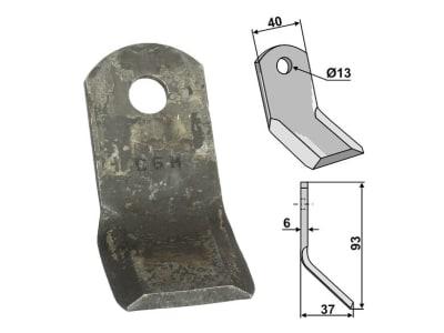 Industriehof® Y-Messer 93 x 40 x 6 mm, Bohrung 13 mm, für Mulcher: Cabe (Nuova Cabe), Caroni, Carroy et Giraudon, Forigo, 63-CAR-52