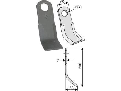 Industriehof® Y-Messer 200 x 60 x 7 mm, Bohrung 30 mm, für Agromet, 63-IND-103