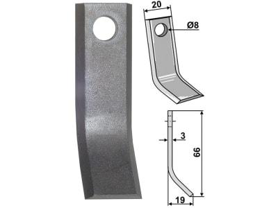 Industriehof® Y-Messer 66 x 20 x 3 mm, Bohrung 8 mm, für Sabo, 63-TOR-52-0