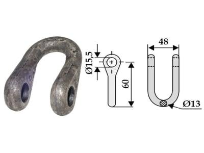 Industriehof® Schäkel gerade, Bohrung 15,5 mm, für Noremat, Noremat, Rousseau, 63-UNI-07