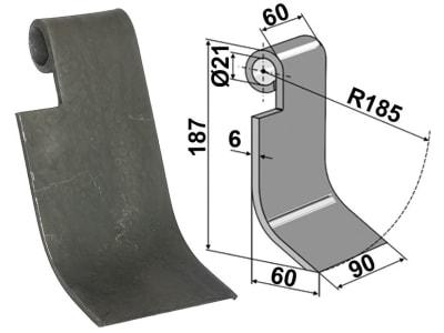 """Industriehof® Schlegelmesser links/rechts 187 x 90 x 6 mm, Bohrung 21 mm, für Rübenroder Kleine """"SF10"""" Fräsen"""