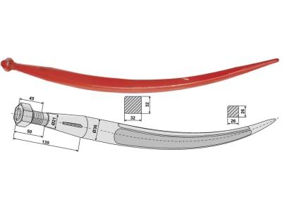 Industriehof® Greiferzinken 680 mm; 810 mm, mit konischer Mutter, spitz, gebogen