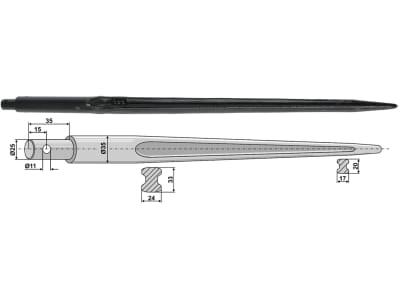 Industriehof® Frontladerzinken 820 mm, Ø 25 mm; 35 mm, spitz, gerade, mit Schaft, für Mailleux, Samson, 18833