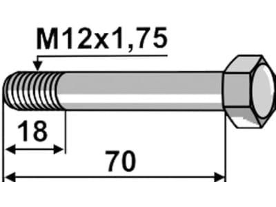 Industriehof® Sechskantschraube M 12 x 1,75 x 70 - 12.9 mit Sicherungsmutter für Lemken, 1217570