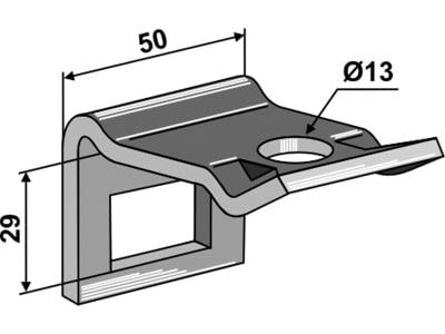 """Industriehof® Zinkenhalter """"D"""" 50 x 6 mm für Federzinken 32 x 10 mm, Passender Rahmen 40 x 10 mm, universal, 1.HH17-3400"""