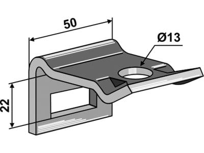 """Industriehof® Zinkenhalter """"D"""" 50 x 6 mm für Federzinken 32 x 10 mm, Passender Rahmen 50 x 10 mm, universal, 1.HH17-3100"""