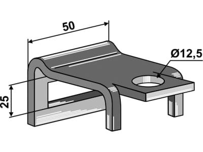 """Industriehof® Zinkenhalter """"B"""" 50 x 6 mm für Federzinken 32 x 10 mm, Passender Rahmen 50 x 15 mm, universal, 1.HH17-15X50"""