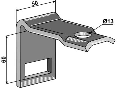 """Industriehof® Zinkenhalter """"C"""" 50 x 6 mm für Federzinken 32 x 10 mm, Passender Rahmen 50 x 50 mm, universal, 1.10159"""
