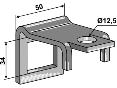 """Industriehof® Zinkenhalter """"B"""" 50 x 8 mm für Federzinken 32 x 10 mm mit Verstärkungsfeder 32 x 10 mm, Passender Rahmen 50 x 12 mm, universal, 1.HH17-3007"""