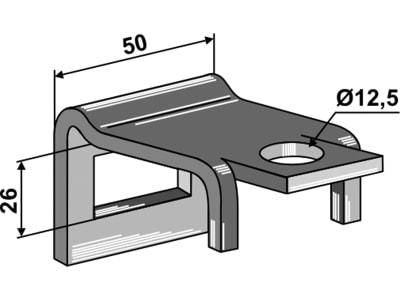 """Industriehof® Zinkenhalter """"B"""" 50 x 8 mm für Federzinken 32 x 12 mm, Passender Rahmen 50 x 15 mm, universal, 1.HH17-3005"""