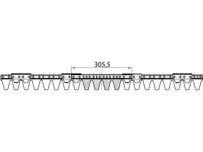 ESM Mähmesser 102 cm, Hobby-Universalbalken, gewölbte Klingen, Verstärkungsleiste 5–6 mm, Klingen 20, für Agria, Echo, Eurogarden, Hako, Viking