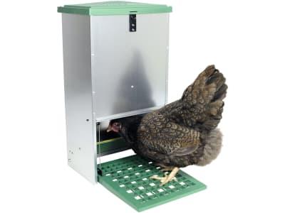 Futterautomat Metall verzinkt, mit Trittklappe, für Hühner