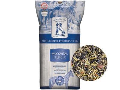 Mühldorfer Mucovital prebiotic getreidefreies Pferdefutter für Pferde mit Magenproblemen, stressbedingten Magenerkrankungen oder chronischer Gastritis 20 kg Sack