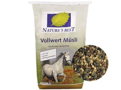 NATURE´S BEST Vollwert Müsli hochverdauliches, energiereduziertes Futter für kolikanfällige Pferde und bei Hautproblemen 20 kg Sack