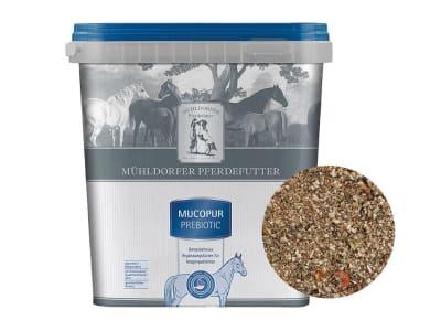 Mühldorfer Mucopur prebiotic getreidefreie, melassefreie Unterstützung von Pferden mit Magenproblemen 2 kg Eimer