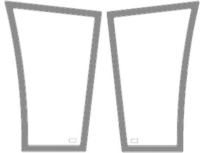 Frontscheibe, grün, unten links/rechts, geklebt, klein, Siebdruck, für Fendt Farmer 409–415, Favorit 711–820
