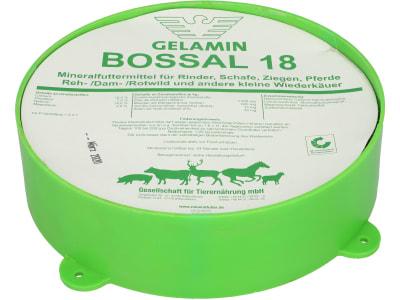 GELAMIN BOSSAL 18 Mineralfutter für Pferde, Schafe und Wild Leckmasse 1,25 kg Leckschale