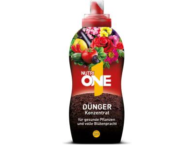 NutriONE, alles in einem, innovativer NPK 5,5-5-7,5 Universaldünger mit wertvollen Pflanzenextrakten und Spurenelementen, 500 ml Flasche