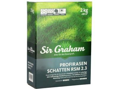 Sir Graham Schattenrasen, RSM Profirasen 2.3 mit Poa supina RSM 2.3 mit Poa supina (ausreichend für 80m²) sehr robust auf schattigen und schwierigen Flächen durch Längerrispe; auch auf sonnigen Flächen als Neuansaat und Nachsaat einsetzbar 2 kg Sack