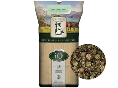 Mühldorfer iQ WiesenSchatz Mash getreidefreies und melassefreies, rohfaserreiches Mash für Pferde 15 kg Sack