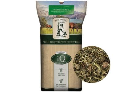 Mühldorfer iQ WiesenSchatz Müsli getreidefreies, melassefreies Müsli ohne zugesetzte Mineralstoffe und Vitamine auch für sensible Pferde geeignet 15 kg Sack