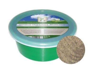Mühldorfer Mineral-Leckschale Bronchial Leckmasse mit Kräuteröl für Pferde zur Unterstützung der Atemwege 6 kg Leckschale