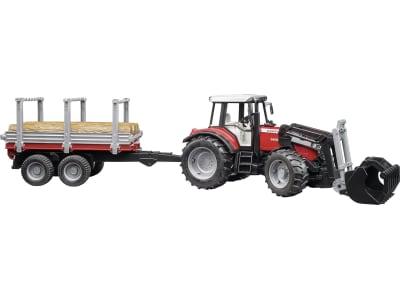 """Bruder® Modell """"Massey Ferguson Traktor 7480"""" mit Frontlader, Holztransportanhänger und 3 Baumstämmen 1:16, 02046"""